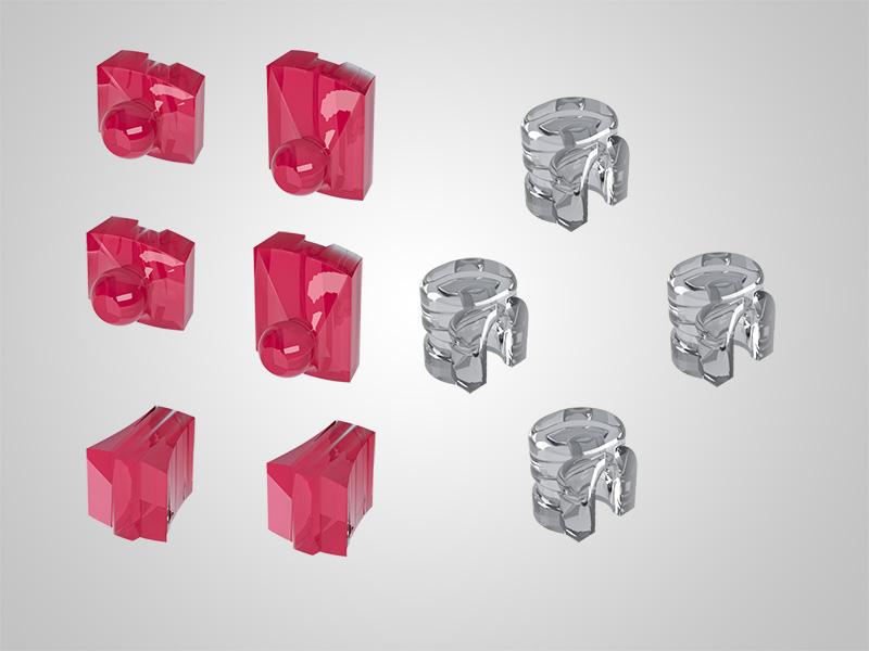 Kugelanker-Set vertikal mit Matrizen zum Dublieren